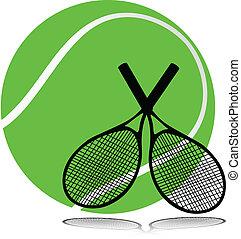 tenis, herramientas, ilustración