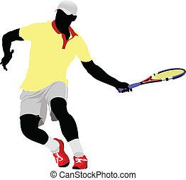 tenis, ilustración, vector, player.