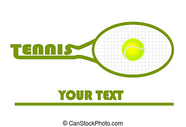 tenis, logotipo, con, tenis, ball.