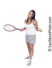 tenis, mujer, juego
