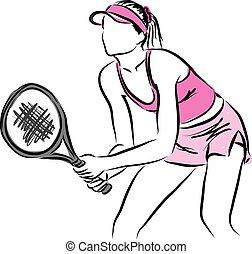 tenis, mujer, jugador, ilustración