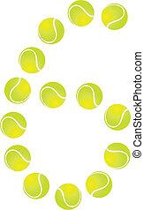 tenis, número, pelota, 6