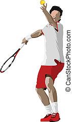 tenis, player., coloreado, vector, illus