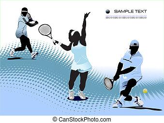 tenis, player., coloreado, vector, ilustración, para,...