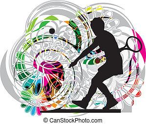 tenis, players., vector, ilustración