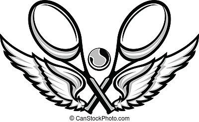 tenis racquet, y, alas, emblema, vector, imágenes
