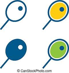 tenis racquet, y, un, pelota, iconos