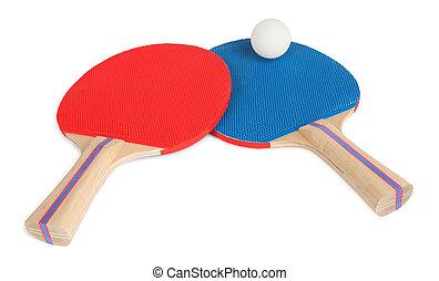 tenis, szczelnie-do góry, piłka, rakiety, stół