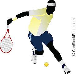 tenis, vector, coloreado, player.