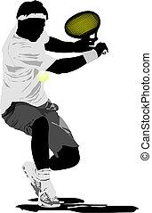 tenis, vector, player., ilustración