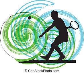 tenis, vector, players., ilustración