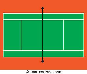 tenis, vector, tribunal