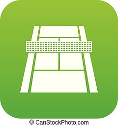 tenis, vector, verde, icono, tribunal