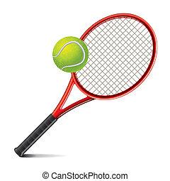 teniszütő, és, labda, vektor, ábra