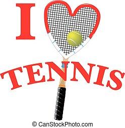 teniszütő, és, labda