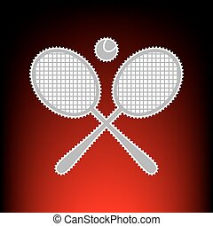 teniszütő, cégtábla., levélbélyeg, vagy, öreg, fénykép, mód, képben látható, red-black, gradiens, háttér.