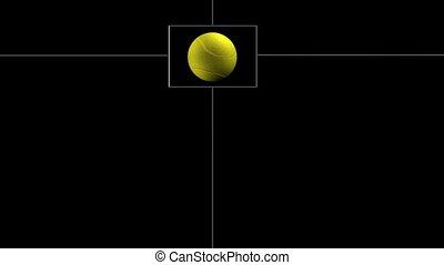 tenisz, derékszögben, labda