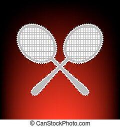 tenisz, egyszerű, cégtábla., levélbélyeg, vagy, öreg, fénykép, mód, képben látható, red-black, gradiens, háttér.