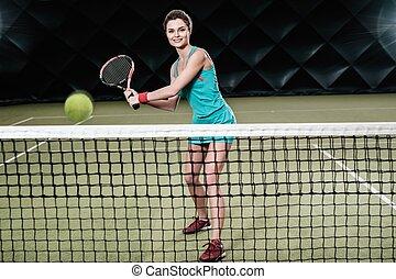 tenisz, nő, bent, fiatal, játék