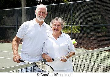 tenisz, párosít, idősebb ember