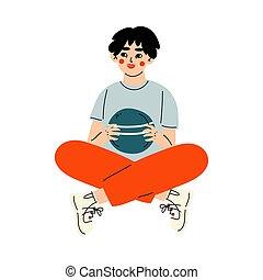 Tennage Boy Sitting Cross Legged and Holding Ball Vector ...
