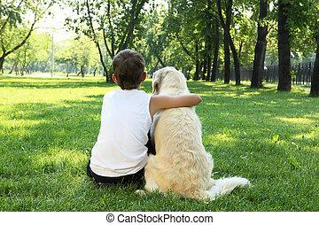 tennager, garçon, dans parc, à, a, chien