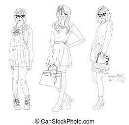 tennagers, ファッション, 女の子, モデル