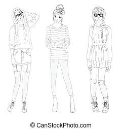 tennagers, mode, filles, modèle