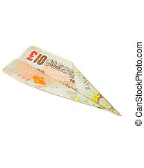 a ten pound note folded into a paper airplane