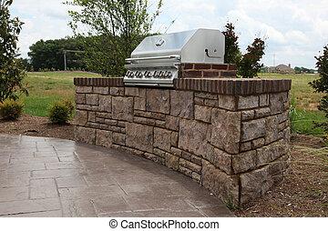 tennesee, casa, incorporata, cortile posteriore, griglia
