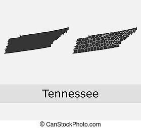 Tennessee counties vector map