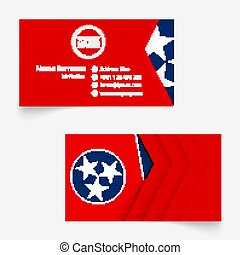 Tennessee Flag Business Card, standard size (90x50 mm) business card template.