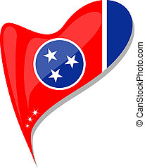 tennessee flag button heart shape. vector