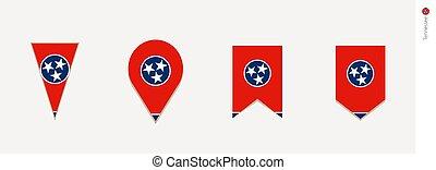 Tennessee flag in vertical design, vector illustration