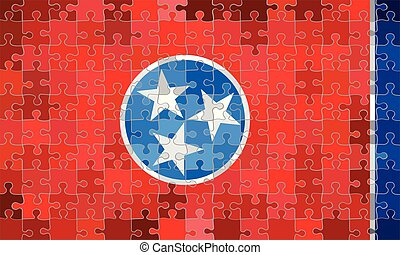 Tennessee flag made of puzzle background