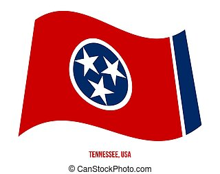 Tennessee Flag Waving Vector Illustration on White Background. USA State Flag