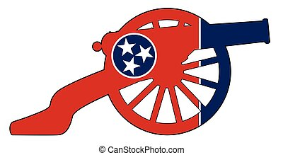 Tennessee Flag With Civil War Cannon Silhouette - Typical ...