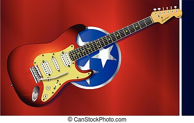 Tennessee Flag With Electric Guitar