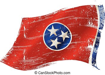 Tennessee grunge flag - flag of Tennessee in the wind with a...