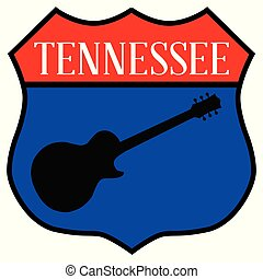 Route style traffic sign with the legend Tennessee and guitar silhouette