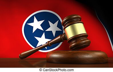 Tennessee state law, legal system and justice concept with a 3d render of a gavel on a wooden desktop and the Tennessean flag on background.