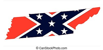 State map outline of Tennessee with confederate flag over a white background