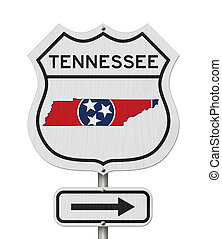 Tennessee map and state flag on a USA highway road sign