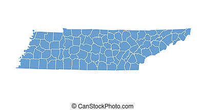 Tennessee map by county