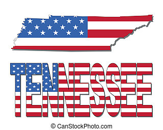 Tennessee map flag and text