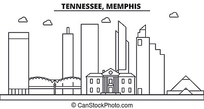 Tennessee, Memphis architecture line skyline illustration. Linear vector cityscape with famous landmarks, city sights, design icons. Editable strokes