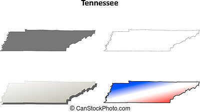 Tennessee state blank vector outline map set