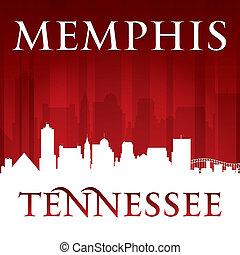 tennessee, plano de fondo, contorno, memphis, ciudad, rojo, ...