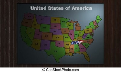 Tennessee pull out from USA states abbreviations map