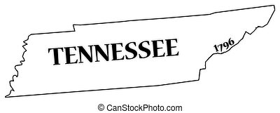 A Tennessee state outline with the date of statehood isolated on a white background